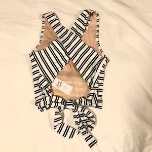 Open Back striped swim top